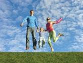 fly happy family on blue sky
